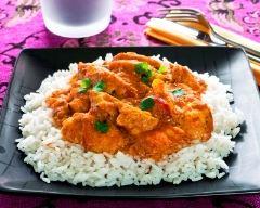Recette riz blanc à la sauce au poulet et curry
