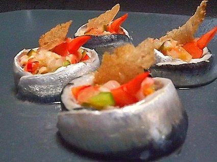 Recette de sardines marinées et salpicon de crevettes
