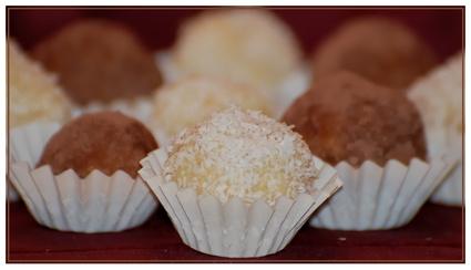 Recette truffes au chocolat blanc et noix de coco pour 6 personnes