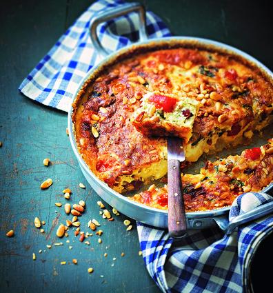 Recette de clafoutis de tomates cerises, mozzarella et pignon