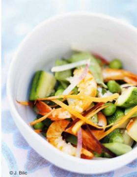 Crevettes aux légumes sautés pour 6 personnes