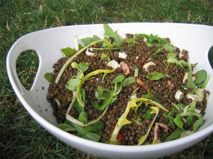 Recette de salade de lentilles, roquette et chèvre