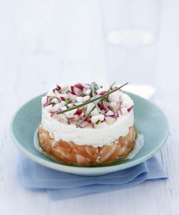 Recette de tartare de saumon et radis croquant au carré frais