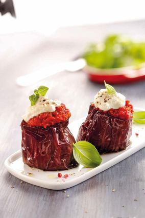 Recette aubergines grillées à la tomates et à la brousse