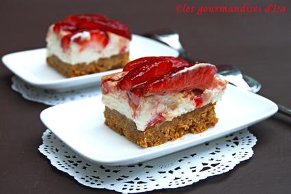 Recette de carrés aux fraises et au mascarpone