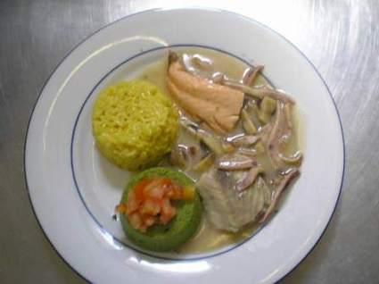 Recette de blanquette de la mer, riz aux colombos et parmesan
