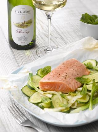 Recette de papillotes de saumon aux légumes d'été et à la menthe ...