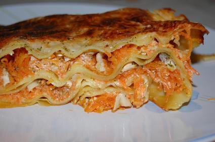 Recette de lasagnes aux carottes et chèvre