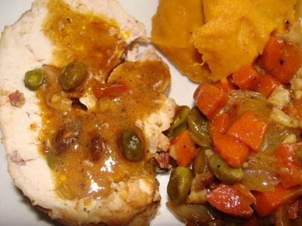 Recette de rôti de dinde aux pistaches et lardons