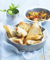 Samossas aux légumes grillés, épices douces et bûche de chèvre ...