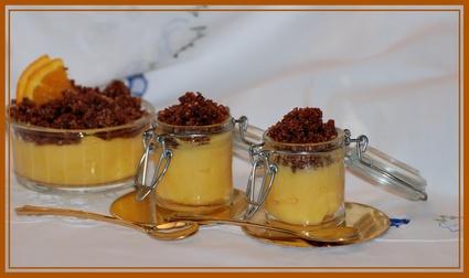Recette de petite crème à l'orange et son crumble au chocolat