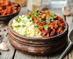 Recette millet cuit à l'aubergine et sauce tomate épicée