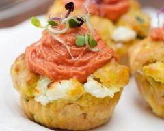 Recette cupcakes courgette-chèvre, chantilly à la tomate