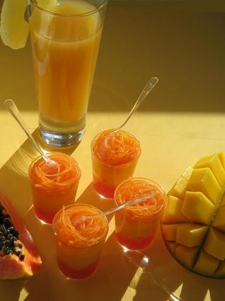 Recette de verrines exotique mangue-papaye