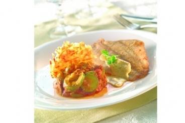 Recette de petit carrelet, gaufre de pommes de terre et courgettes à ...