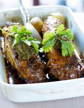 Filet mignon de porc à la tapenade et pommes de terre vapeur pour ...