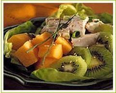 Recette salade de poulet aux kiwis et au melon