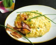 Recette œufs brouillés aux trois salades et chips de lard alsacien