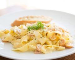 Recette tagliatelles et sauce carbonara crémeuse aux oeufs