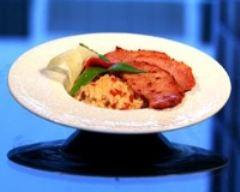 Recette lomo et risotto au poivron et au jambon de bayonne