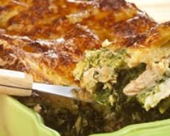 Recette lasagnes allégées au saumon, épinards et gruyère râpé.