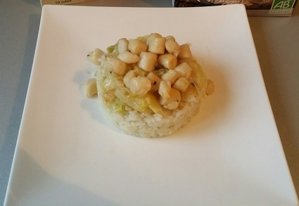 Recette de noix de pétoncles et sa fondue de poireaux