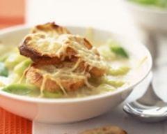Recette soupe gratinée aux oignons et poireaux