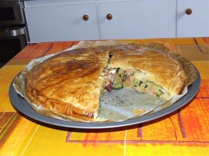 Recette de tourte aux courgettes, lardons et fromage de chèvre