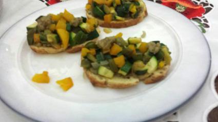 Recette de tartines aux légumes du soleil