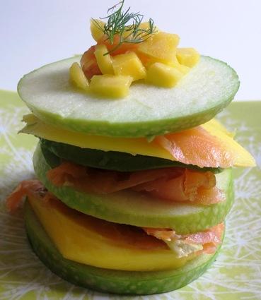 Recette de millefeuille pomme verte, avocat, mangue et saumon