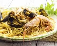 Recette spaghettis aux gambas et aux moules