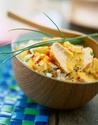 Recette de curry de poulet au lait de coco et riz basmati