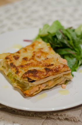 Recette de lasagnes fraîches aux deux saumons et poireaux