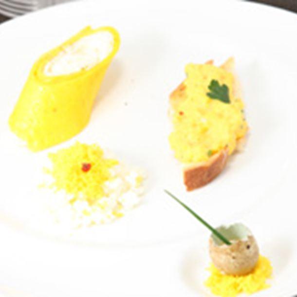 Recette omelette déstructurée, brouillade et sabayon de caille