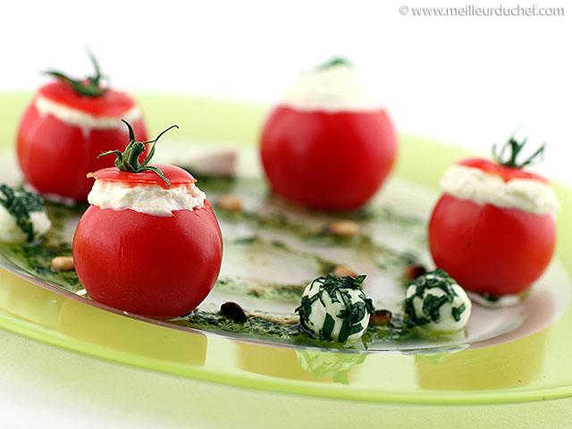 Tomates cocktail en espuma de mozzarella et son pesto  recette ...