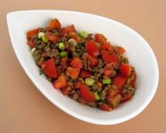 Recette salade tiède de lentilles et tomates