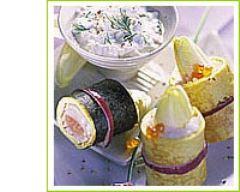 Recette sushi d'endives au saumon mariné, caillé à l'aneth et sauce ...