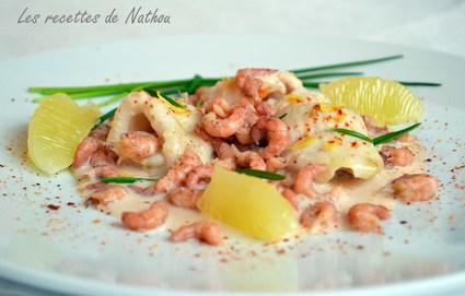 Recette de filets de sole, crevettes grises et sauce au porto