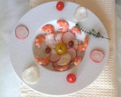 Recette salade radis, crevettes et thym