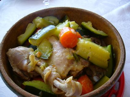 Recette de tajine poulet aux courgettes et carottes