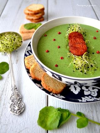 Recette de soupe au cresson & croustillants de chorizo