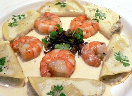 Recette de crevettes et ses ravioles d'artichaut