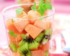 Recette verrines de melon-kiwi à la fraîcheur de menthe