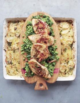 Poulet doré, légumes braisés et gratin de pommes de terre pour 1 ...