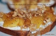 Recette de tartines chèvre frais, pommes caramélisées, noix, miel ...
