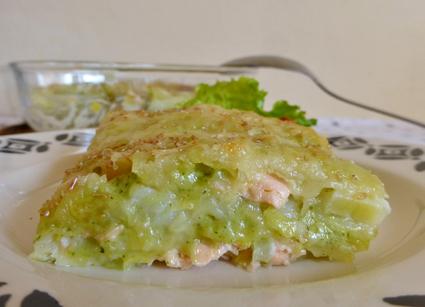 Recette de lasagnes de ravioles aux poireaux et saumon
