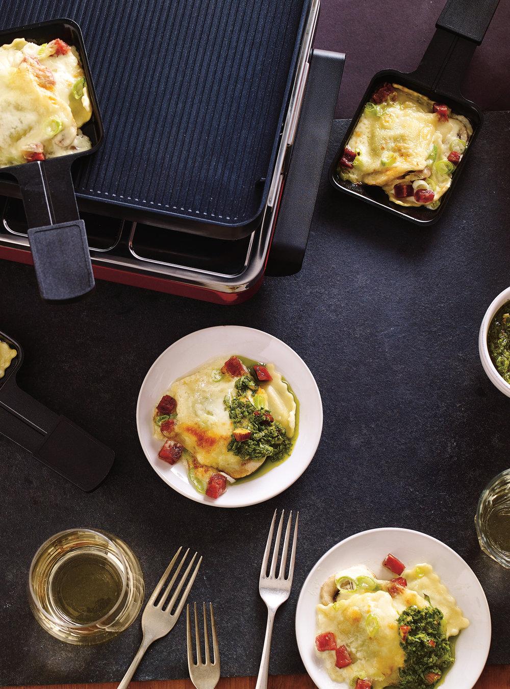 Raclette de raviolis à la crème | ricardo