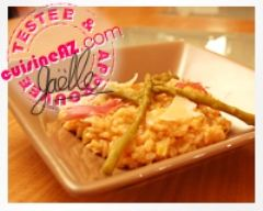 Recette risotto aux poireaux, aux asperges et à la bisque de homard