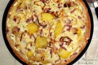 Recette de pizza au fromage à raclette, pommes de terre, lardons et ...