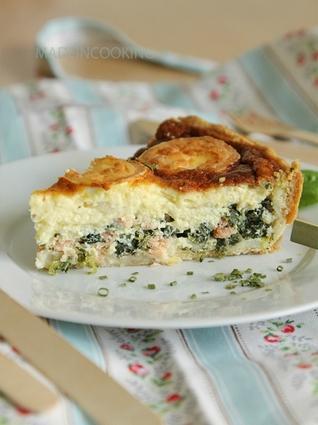 Recette de tarte à l'épinard, saumon et chèvre